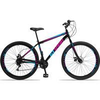 Bicicleta Aro 29 Gt Sprint Mx1. 21v Garfo Rigido Freio Disco - Preto/azul E Rosa - 17''