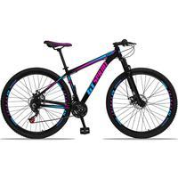 Bicicleta Aro 29 Gt Sprint Mx1 21v Suspensão E Freio A Disco - Preto/azul E Rosa - 19''