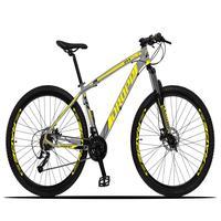 Bicicleta Aro 29 Dropp Z3x 27v Suspensão E Freio Hidraulico - Cinza/amarelo - 17´´ - 17´´