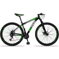Bicicleta Aro 29 Gt Sprint Mx1 21v Suspensão E Freio A Disco - Preto/verde E Branco - 19´´ - 19´´