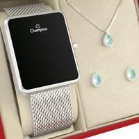 Relógio Feminino Digital Champion Prata Original 1 ano de garantia com colar e brincos