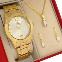 Relógio Feminino Champion Dourado Branco Original 1 ano de garantia com colar e brincos