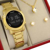 Relógio Feminino Digital Champion Dourado Original com colar e brincos