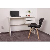 Kit Escrivaninha Com Gaveteiro Branca + 01 Cadeira Eiffel Slim - Preta