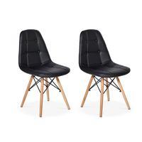 Conjunto 2 Cadeiras Dkr Charles Eames Wood Estofada Botonê - Preta