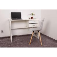 Kit Escrivaninha Com Gaveteiro Branca e 01 Cadeira Charles Eames - Cinza