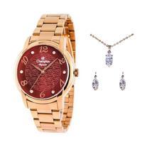 Kit Relógio Feminino Champion + Colar E Brincos - Cn26224l