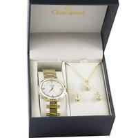 Kit Relógio Feminino Champion Cn25270w Analógico - Dourado