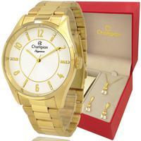 Relógio Champion Feminino Dourado Branco Cn26288w Original