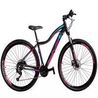 Bicicleta Aro 29 Ksw 21 Marchas Freio Hidráulico E Suspensão Cor:preto/rosa E Azultamanho Do Quadro:15pol - 15pol