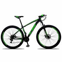 """Bicicleta Aro 29 Ksw 21 Marchas, Freios A Disco E Trava, Cor: preto/verde, Tamanho Do Quadro: 21"""""""