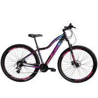 Bicicleta Aro 29 Ksw 21 Marchas Freios A Disco E Suspensão Cor:preto/rosa E Azul tamanho Do Quadro: 17pol - 17pol