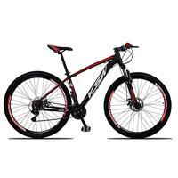 """Bicicleta Aro 29 Ksw 24 Marchas Freio Hidráulico E Trava Cor: Preto/vermelho E Branco, Tamanho Do Quadro:21""""- 21"""""""