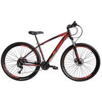 Bicicleta Aro 29 Ksw 27 Marchas Freio Hidráulico E K7 Cor: preto/laranja E Vermelho tamanho Do Quadro:19  - 19