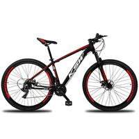 Bicicleta Aro 29 Ksw 21 Marchas Freios A Disco E Suspensão Cor: preto/vermelho E Branco tamanho Do Quadro:15  - 15