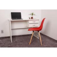 Kit Escrivaninha Com Gaveteiro Branca + 01 Cadeira Charles Eames - Vermelha