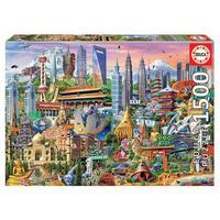 Puzzle 1500 Peças Símbolos Da Ásia - Importado