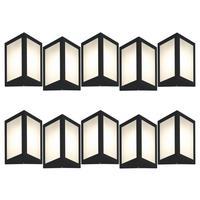 Luminária De Parede Triangular Preto Kit Com 10