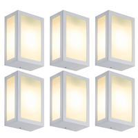 Luminária De Parede Retangular Branco Kit Com 6